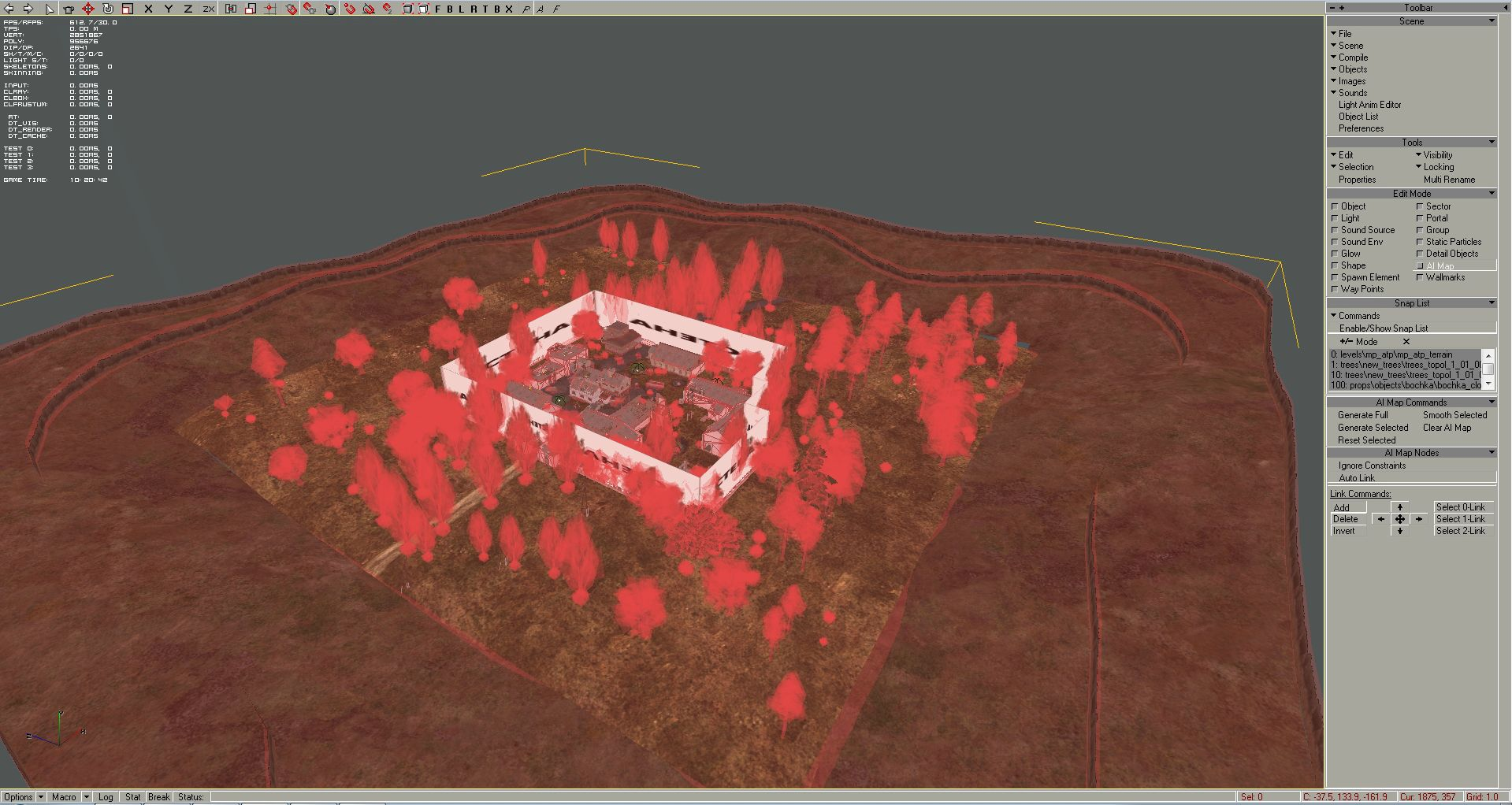 Choose AI map Edit Mode again to for the next step (Step 5), so as you can see all objects are added to our Snap List: