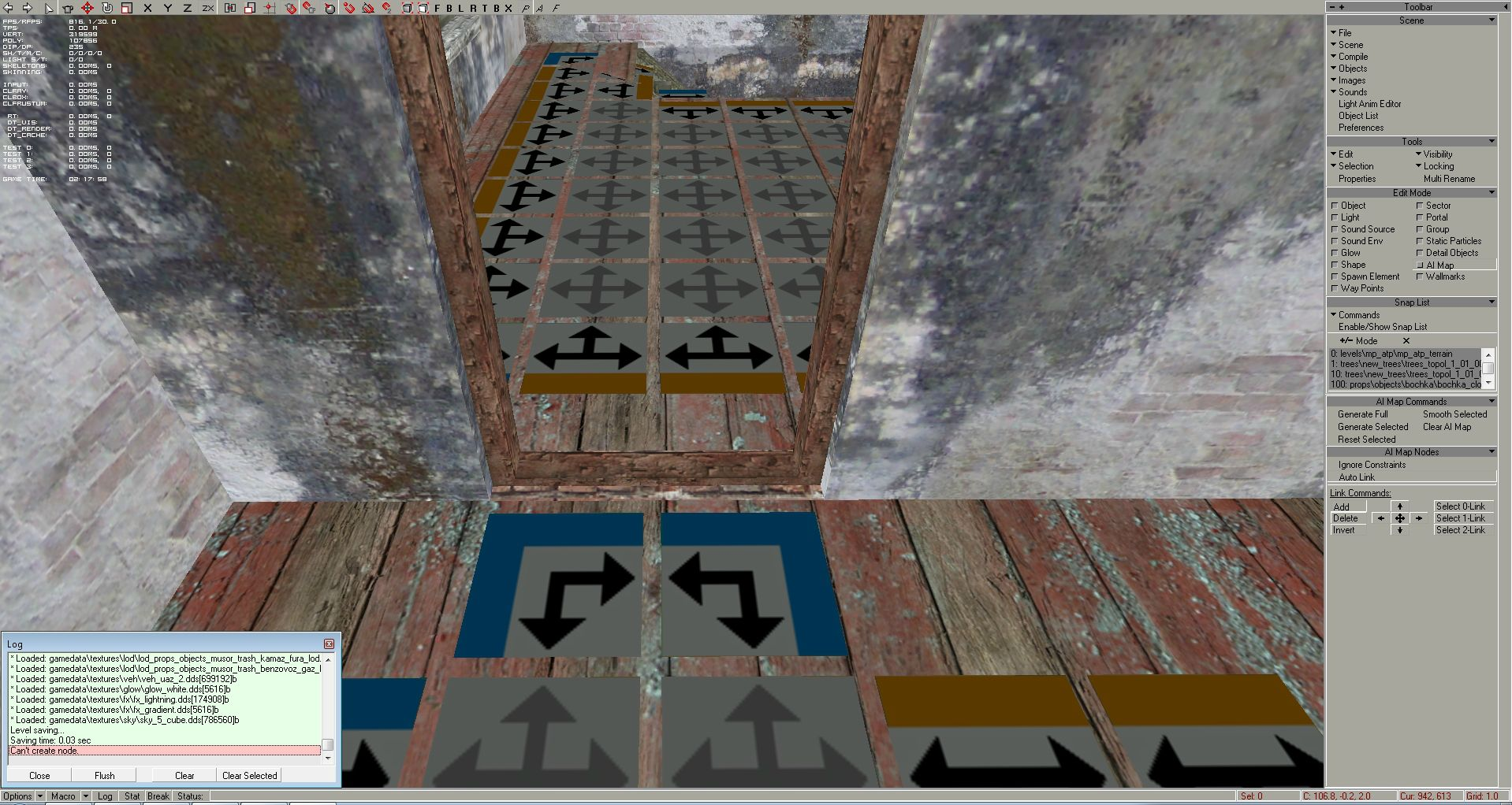 """This room's AI map is separated from the main part of the AI map, which makes the whole AI map invalid, so we have to link the ai nodes through the narrow door entry (don't forget to set back the Brush size to 1). If at the AI Map Nodes panel the """"Ignore Constraints"""" option is not pressed, the editor won't allow you to place down ai nodes there, it will cry in the log """"Can't create node"""":"""