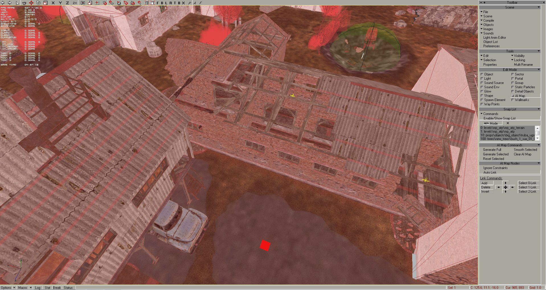 When you selected all needed (or simply all) objects on the level, you need to place at least one ai node by hand on the map inside the playable/fenced area. So click on the bucket
