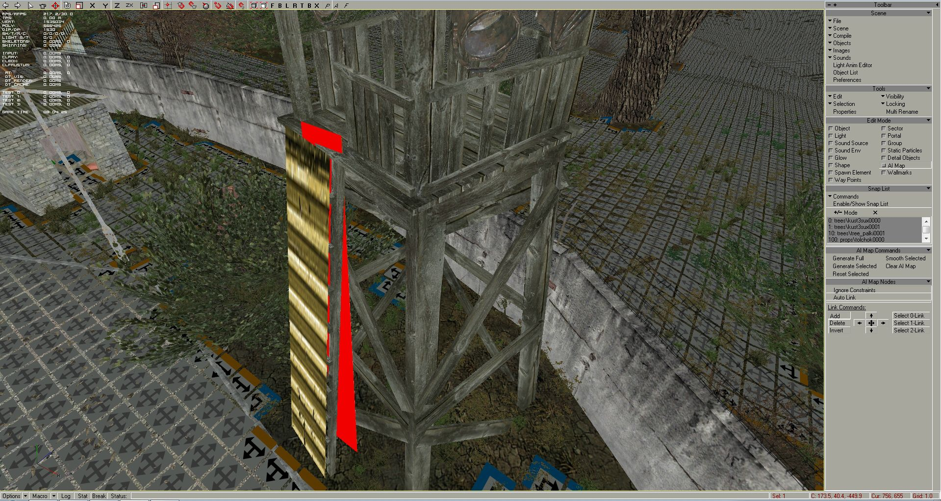 Now I have to move the ai node into a position, where it can link the ground and the watchtower flooring. While the ai node is still selected, select at the top toolbar the red cross shaped arrow - the Move button, press Y nearby, and start to move the ai node along Y axis up or down: