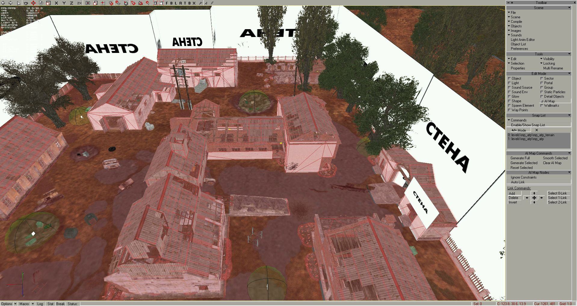 "Step 3: Now you can click on the Snap List's ""+/- Mode"" button, and start to add the terrain and all the objects inside the fenced area to the Snap List one by one. Every static object what you select now, will be taken account into AI map collision model. Press ""Enable/Show Snap List"" to show with red color what was selected:"