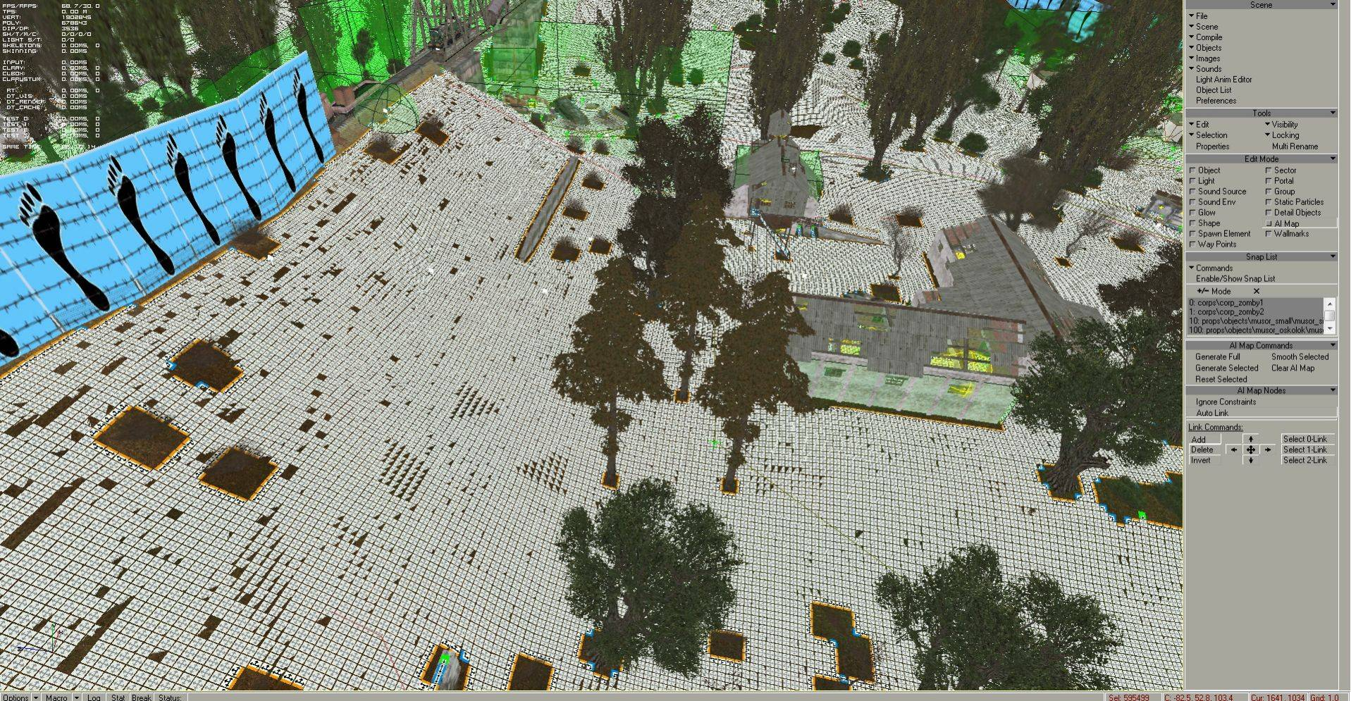 Selected AI map in level editor: all ai nodes are selected on SOC vanilla Escape, the ai nodes count (right below Sel): 595499.