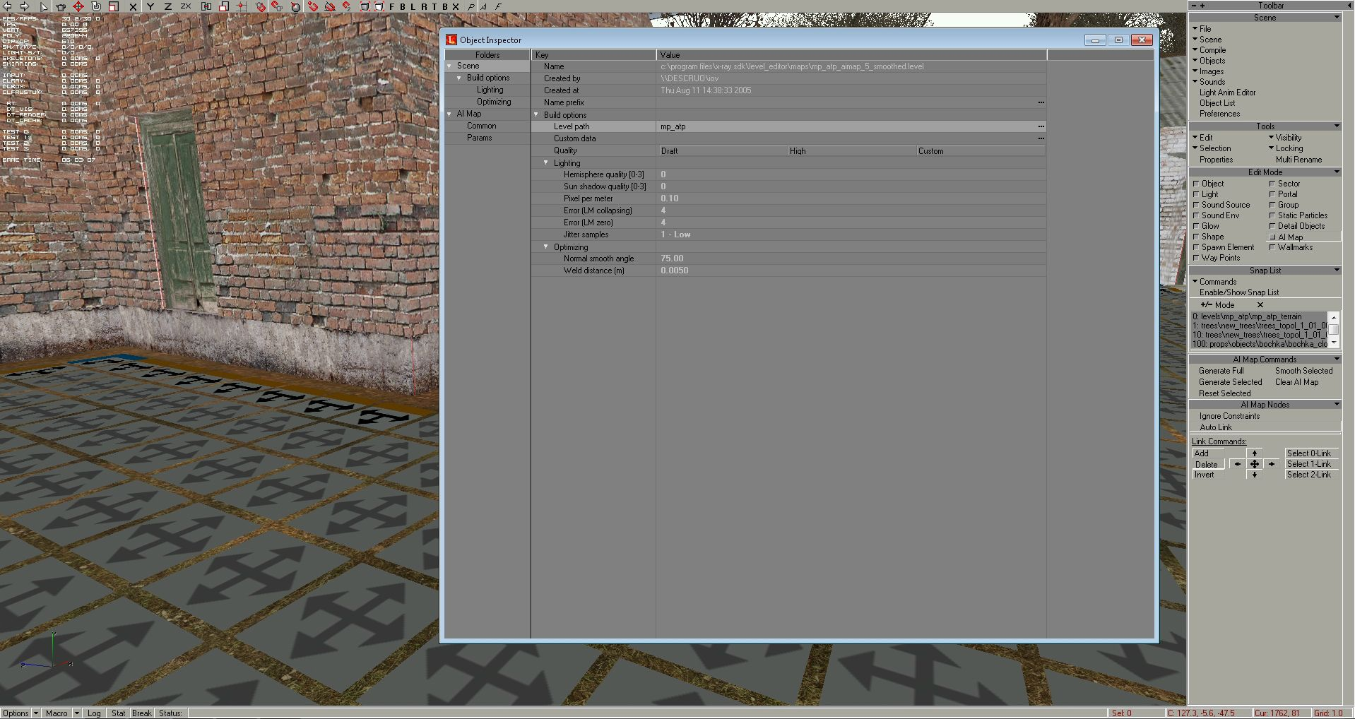 """First we need to build the map in level editor (xrAI will need build.prj), but before this choose at """"Scene"""" panel the """"Scene Options"""", set among the """"Build Options"""" the scene """"Quality"""" to """"Draft"""", and at """"Level path"""" option name your map as you wish – I gave the mp_atp name:"""