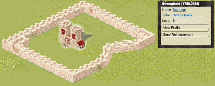 A Stronghold, as well as the UI overlay for this stronghold. Visible are the name of the Stronghold, the name of the Tribe who owns it, the Stronghold's level, and buttons for the Stronghold's profile and context-sensitive troop action.