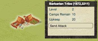 A Barbarian Camp, as well as the UI overlay for this Barbarian Camp. Visible are the Camp's Level, number of times the tribe can be defeated for loot, an approximation of the difficulty of the camp's forces, and the attack button.