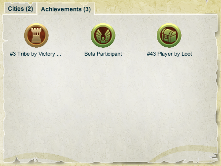 New Achievements system. This player has one Bronze Achievement and two Honorary Achievements, including one for participating in the Beta