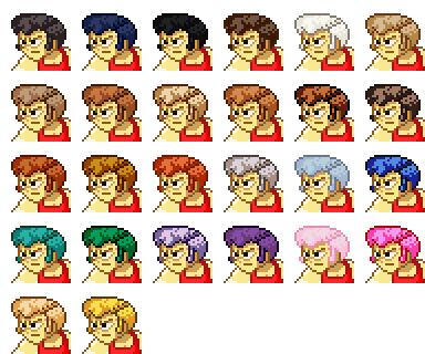 hair options for characters in Super Hematoma