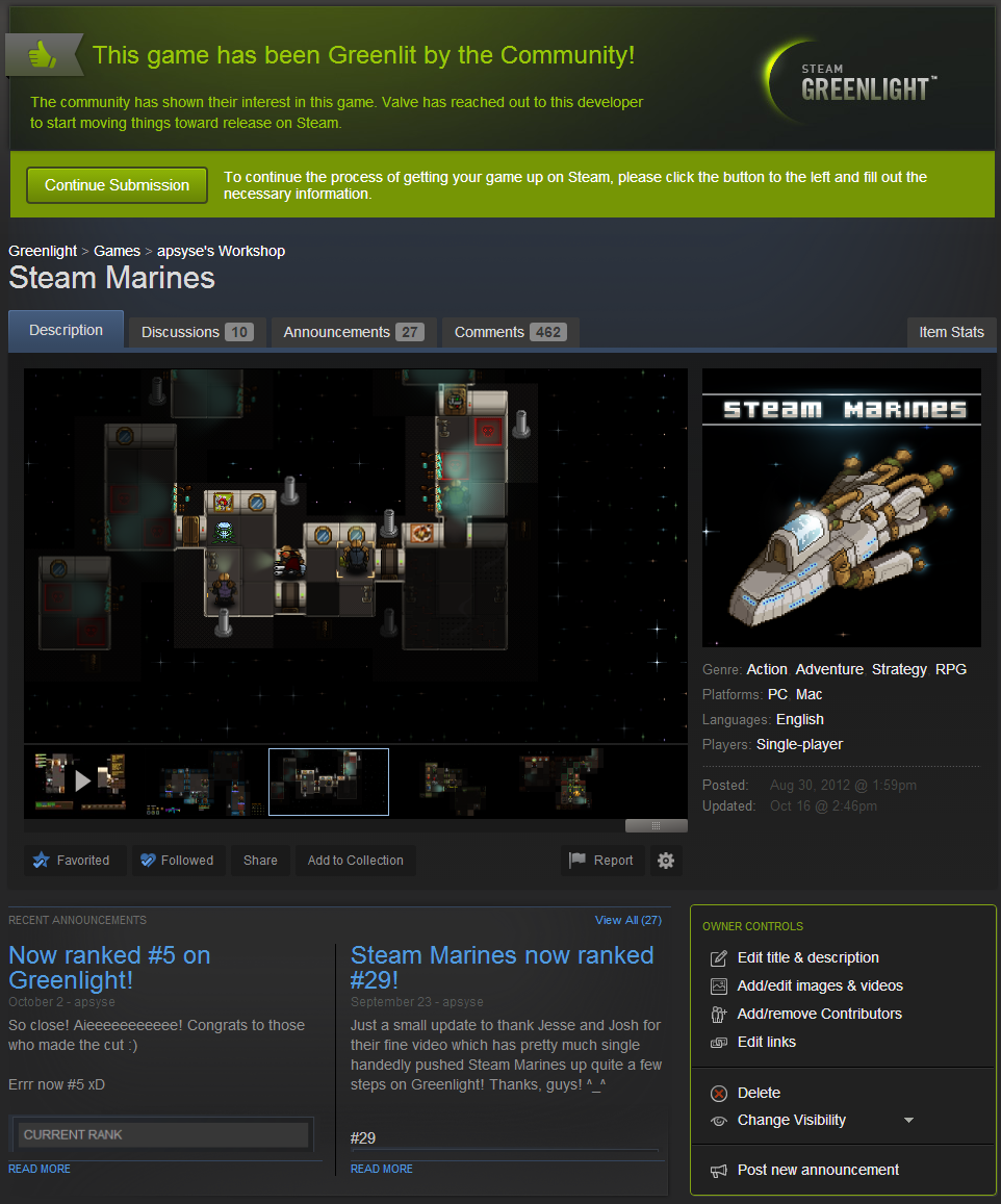 Steam Marines - Greenlit