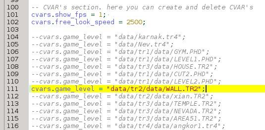Configure startup game level