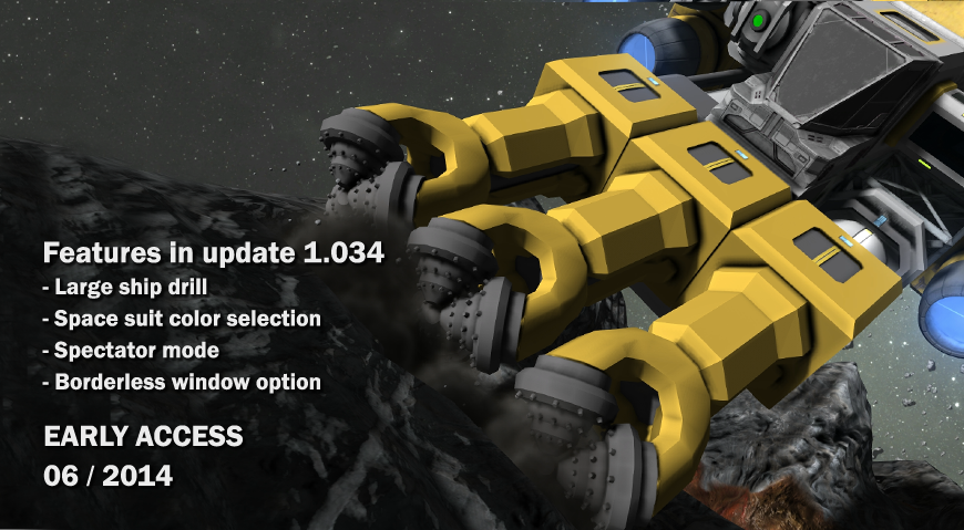 Update 01.034 - Space suit color selection, large ship ...