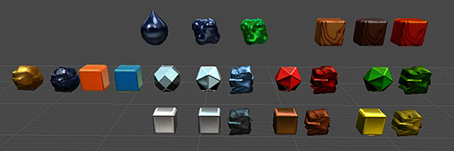 A variety of resource elements all using the same shader but looking very different