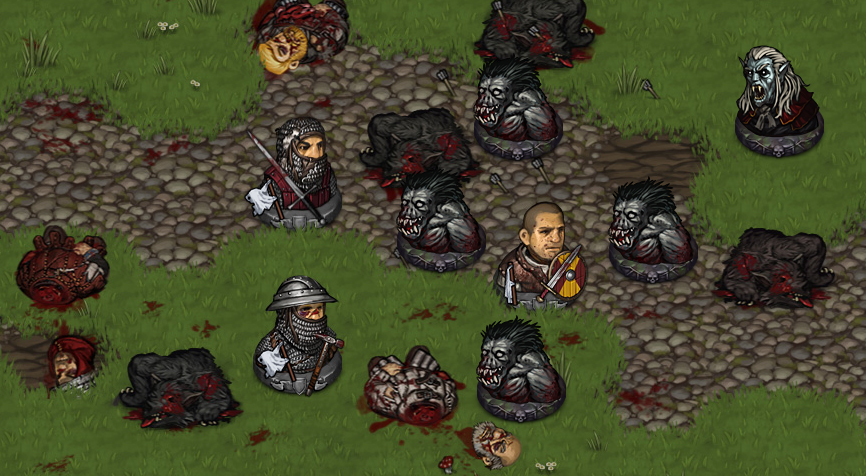 Battle Brothers in different morale states during a heavy fight.
