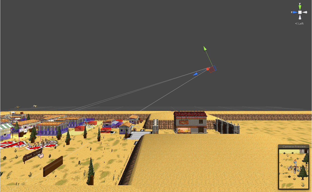 A screenshot showing the camera's angle and position in the editor