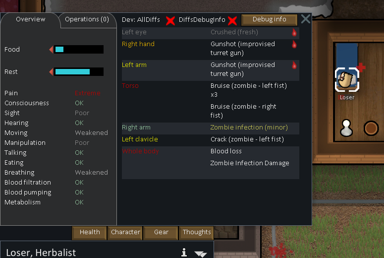 Zombie Infections now show up in the Health tab.