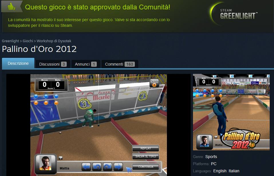 Pallino d'Oro 2012 goes on Steam!