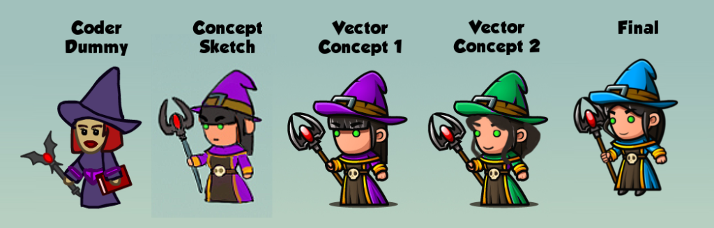 Witch from coder art to final quality