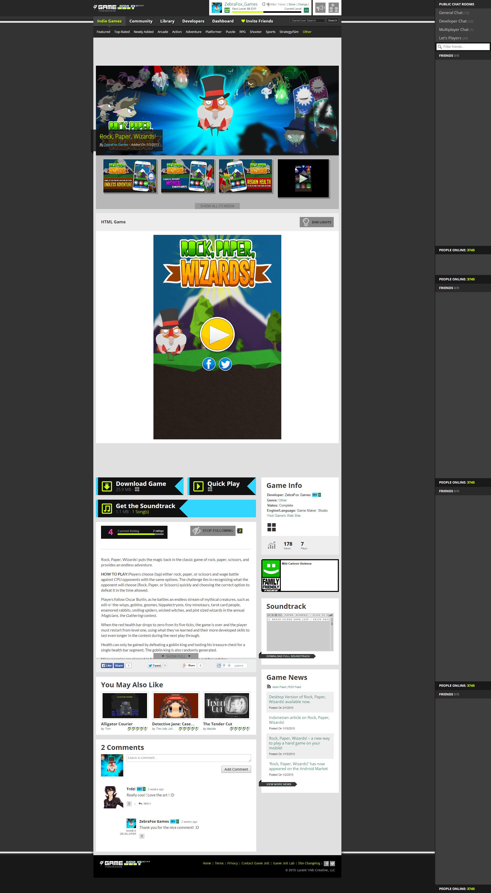 Rock, Paper, Wizards HTML5 GameJolt