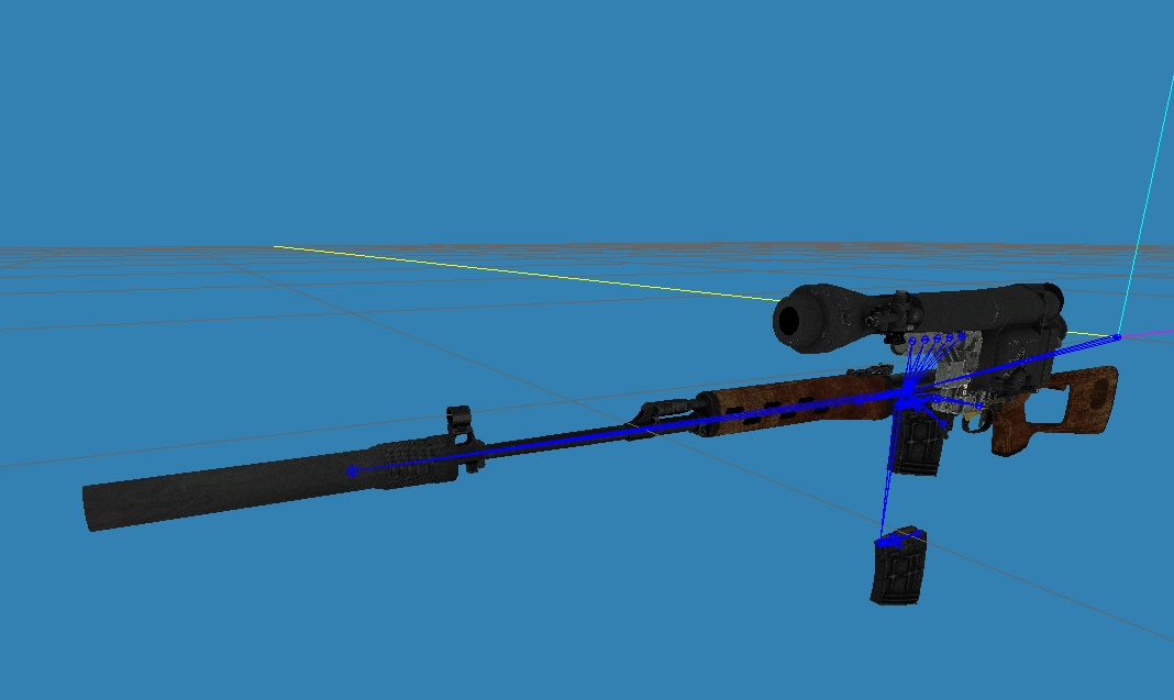 SVD multi-addon model in SDK. Bones for interchangeable scopes clearly visible, with two scopes already attached to the bones.