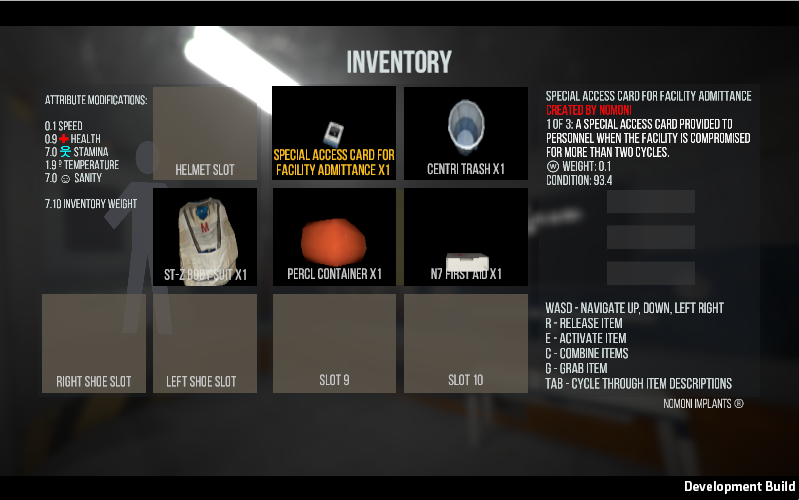 The neural implant presents the inventory menu as an augmented reality textual overlay.
