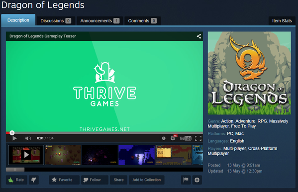 Dragon of Legends on Steam Concept Page