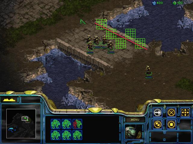 Annotated StarCraft screen captured show tile edges