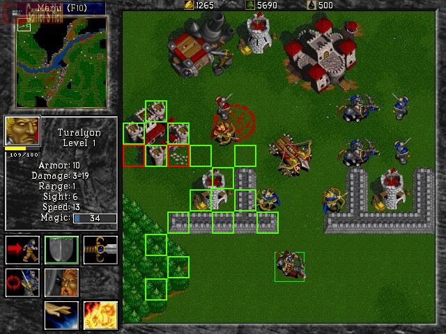 Annotated Warcraft 2 screen captured show tile edges