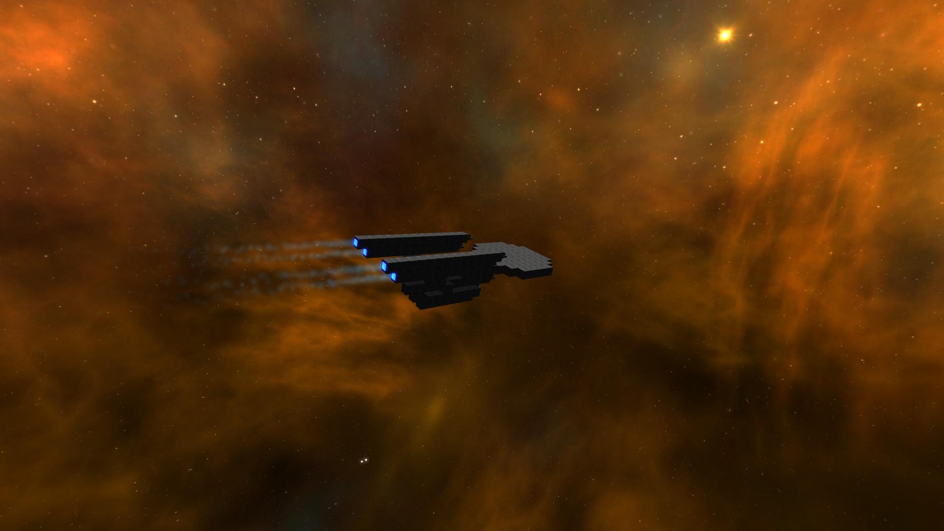 Enterprise refit in an orange nebula