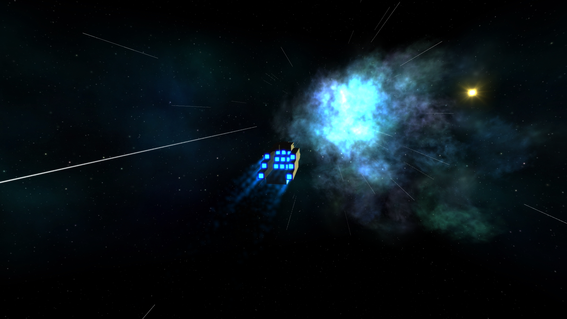 Approaching bluish nebula