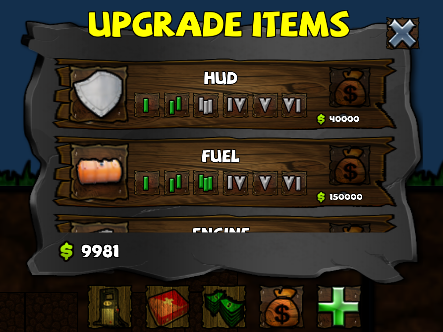 digger machine new upgrade items ui