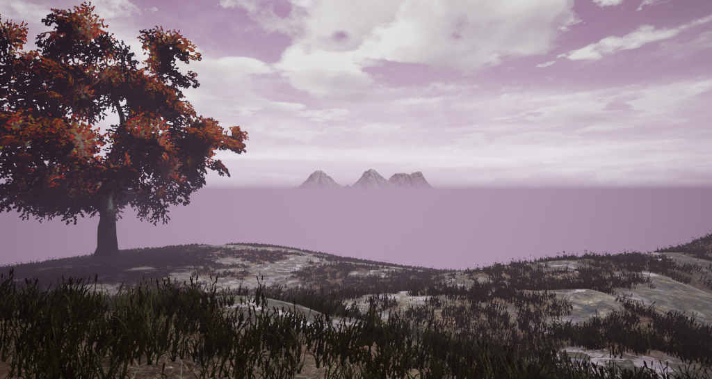 Screen shot of the new procedural background mountains in the game Fictorum