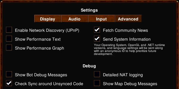Advanced settings dialog