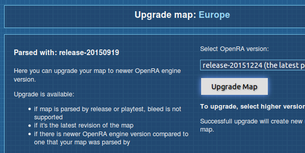 Upgrading maps in the resource center