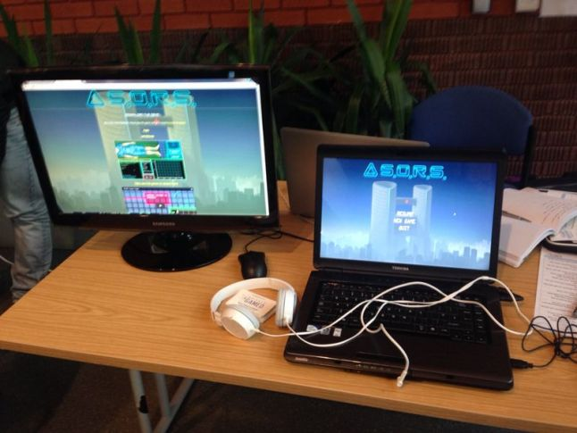 Our typical game & science fair setup – although we tried to have 2 demo PCs for players where possible