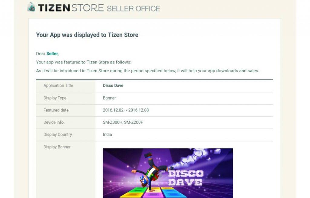 Tizen Store Feature notice