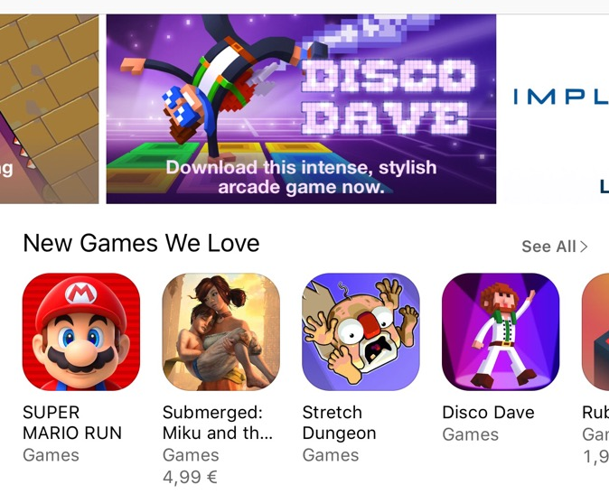 Disco Dave's featuring on the Appstore
