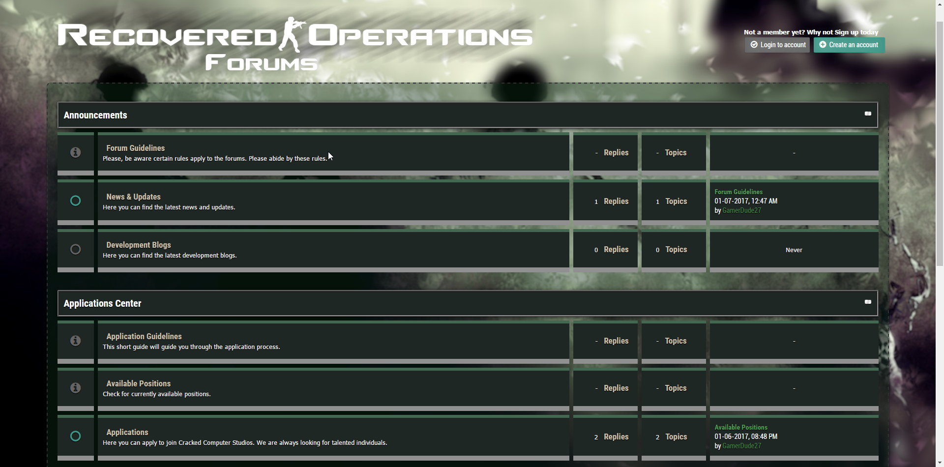 The forums for Recovered Operations
