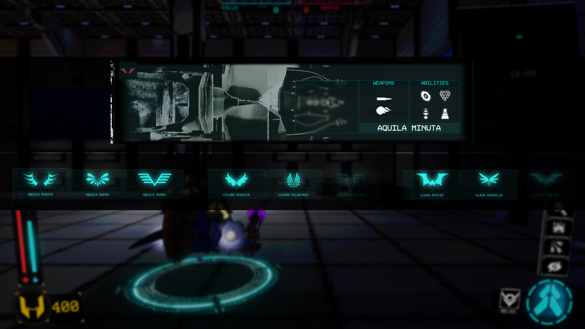Mid game hovercraft selection screen in Crash Force