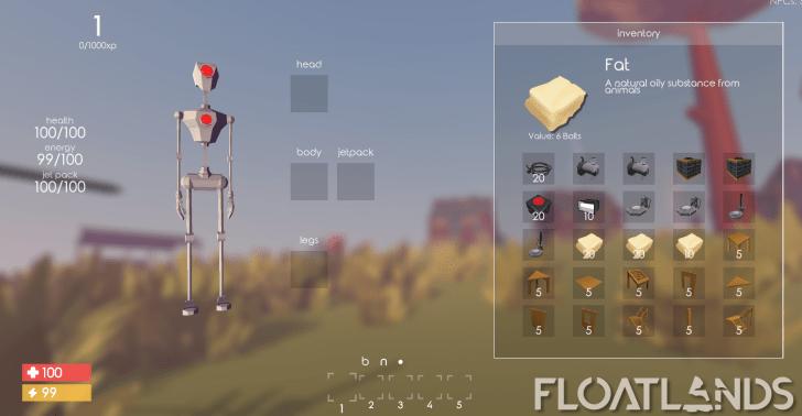 character menu ui lowpoly floatlands