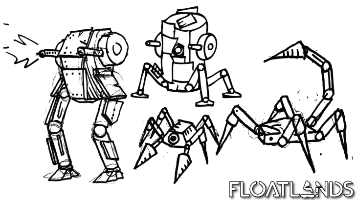 enemy robots concepts lowpoly floatlands