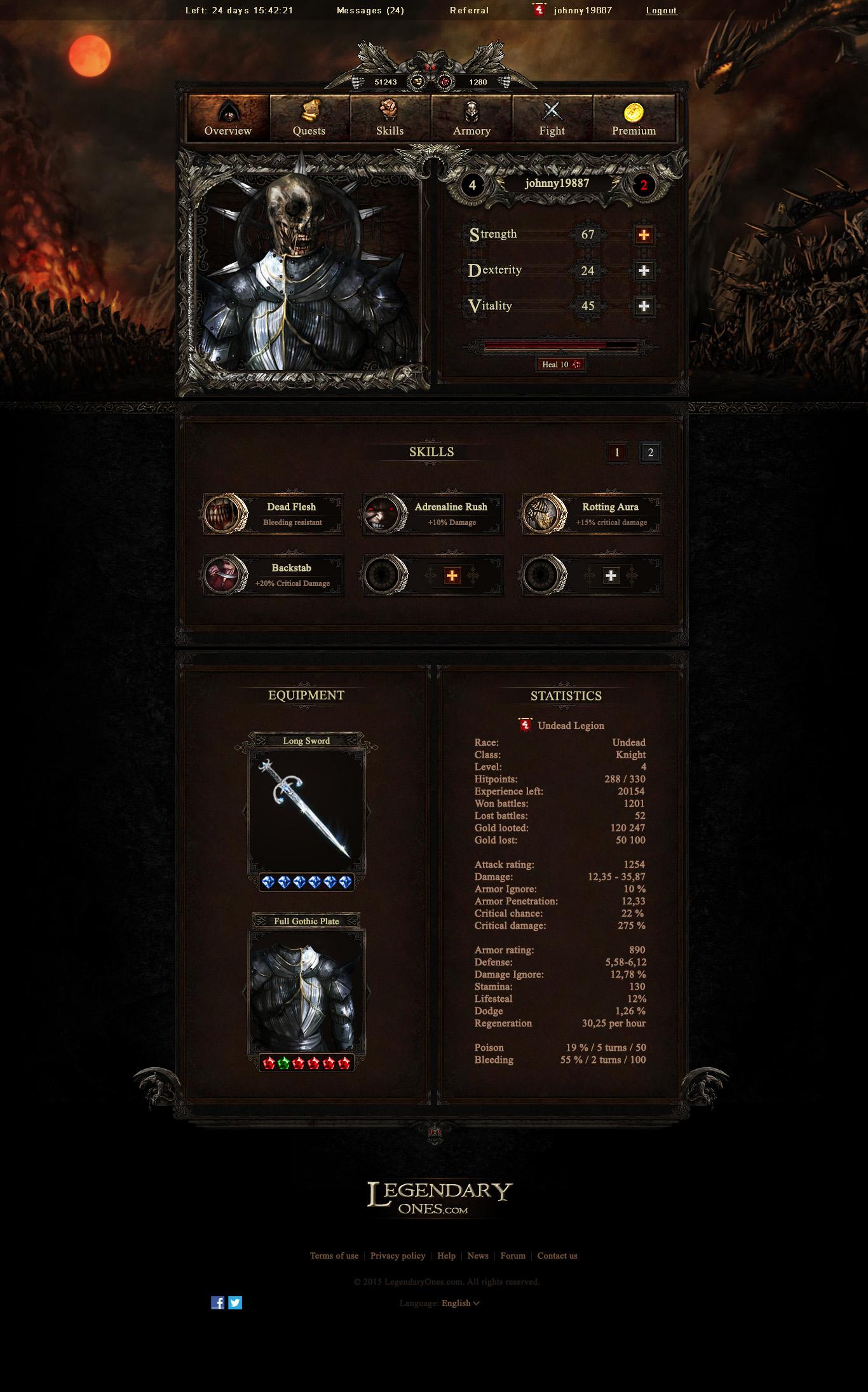 LegendaryOnes Overview Game Screen