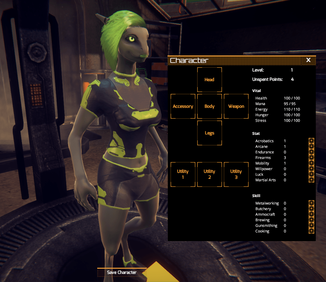 New Character UI