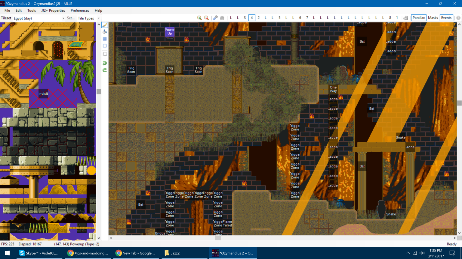 Screenshot of MLLE showing numerous layers and tilesets