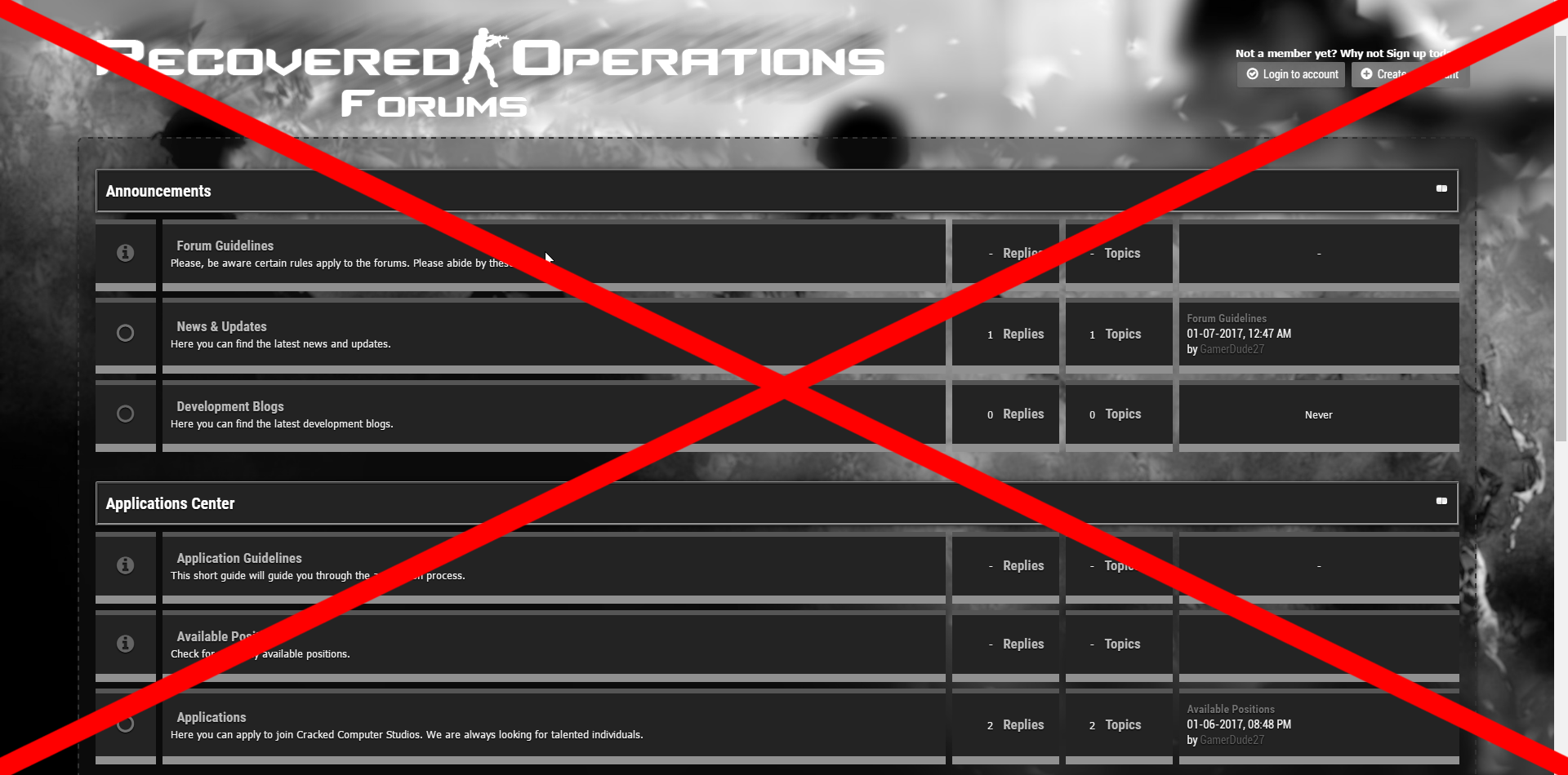 R.I.P. Recovered Operations Forums