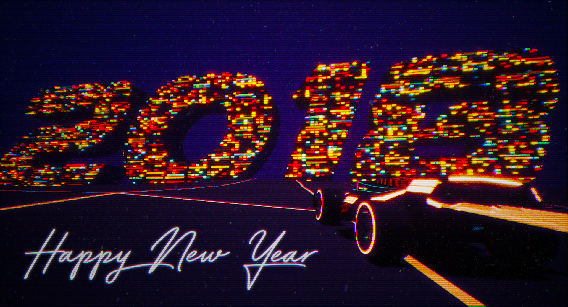 i wish you a happy new year 2018 a year filled with ultra saturated colors and retro synths under a night sky certainly