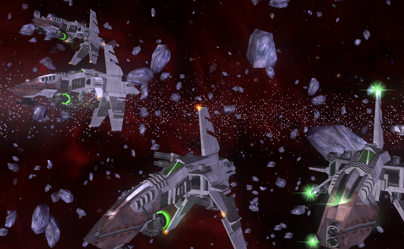 A flock of Gaian fighters, ready to engage in piracy on the Trade Lanes in the Manchester System