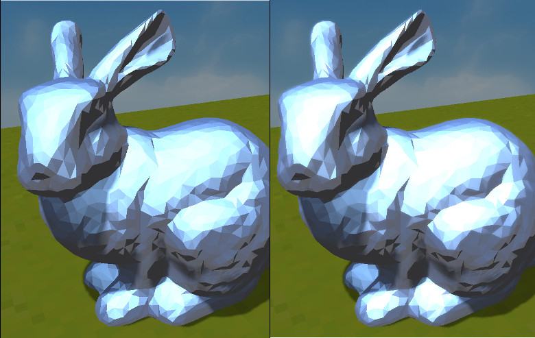 Stanford Bunny with and without bloom
