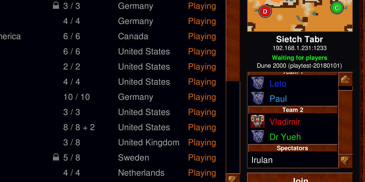 Server player list