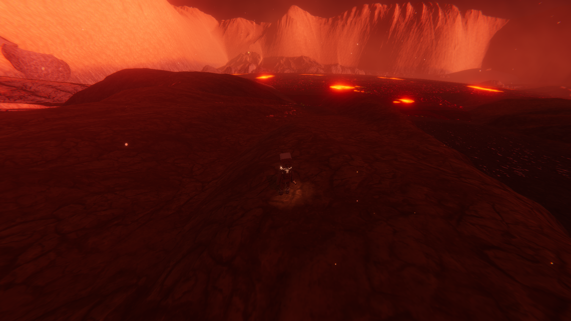 A land divided by a river of lava. reaching the other side might reveal some secret location of temple