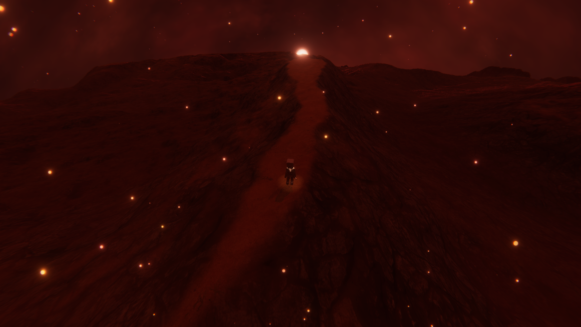 A stable plateau surrounded by lava.
