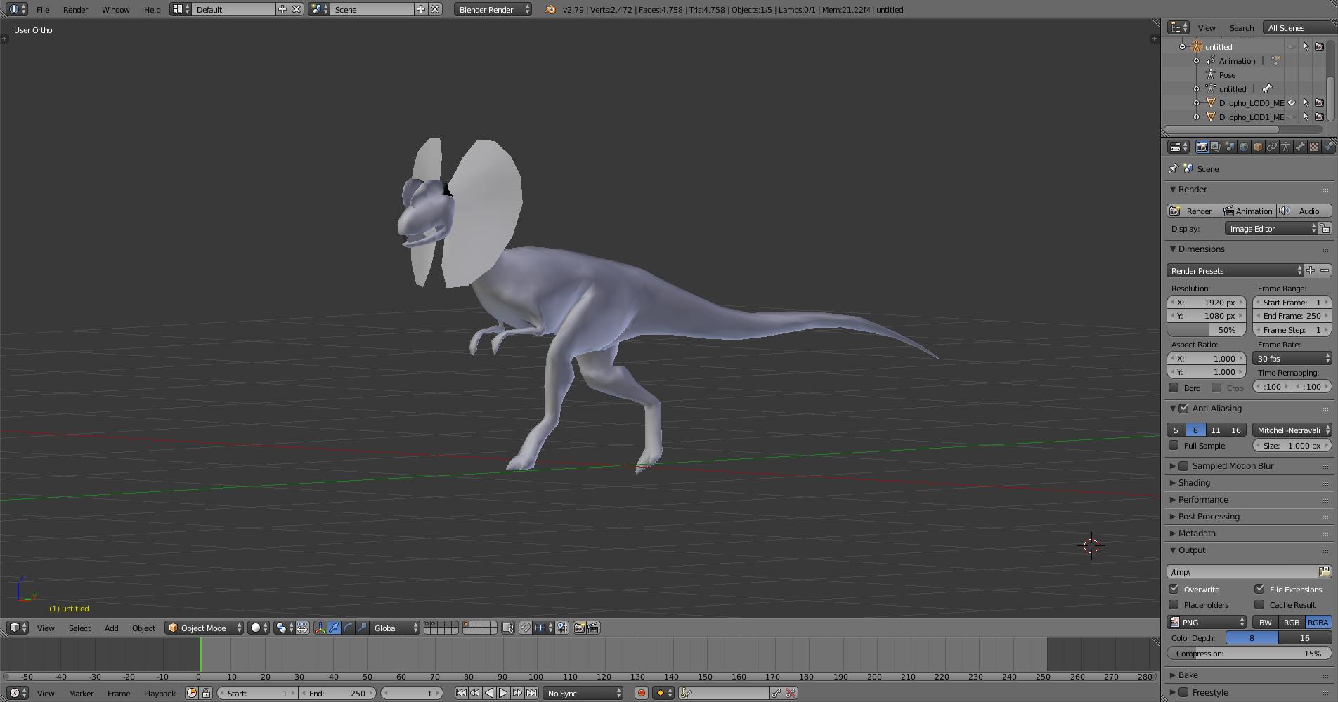 Model for the Jurassic Park Dilophosaurus